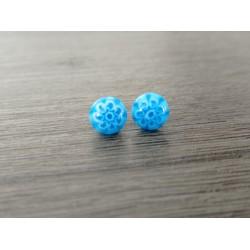 Boucles d'oreilles puce verre fusing millefiori bleu fleurs