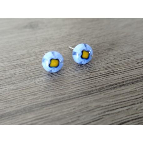 Earrings chip glass fusing millefiori blue.
