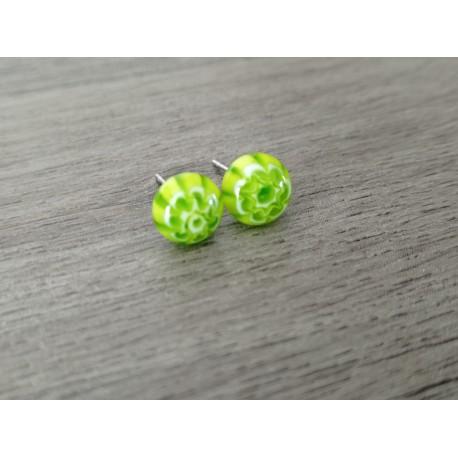 Smart earrings glass fusing millefiori light green