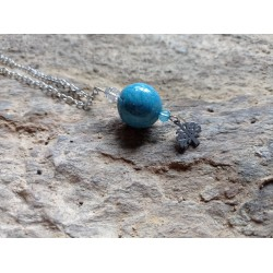 Ceramic turquoise black necklace on stainless steel chain.