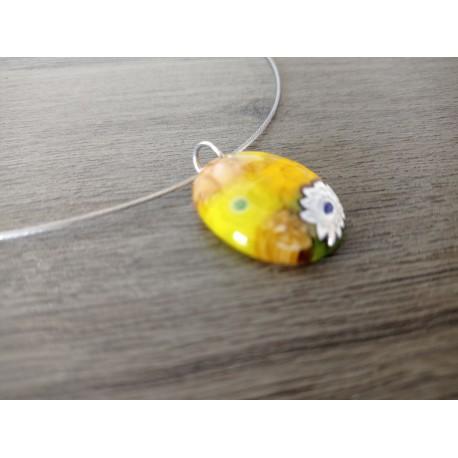 Pendentif femme verre fusing millefiori orange et jaune créatrice bijoux artisanaux vendée