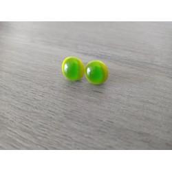 Green fusing glass chip earrings.
