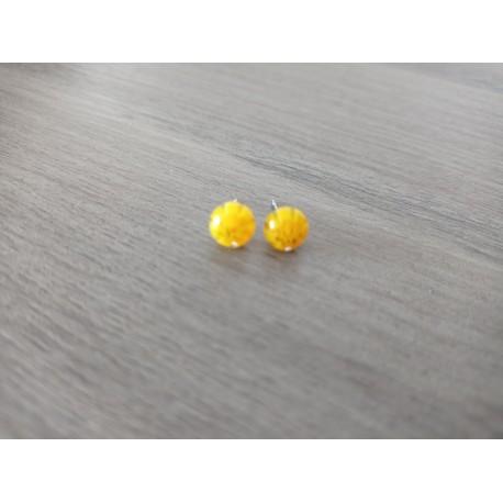 Earrings chip glass fusing millefiori yellow