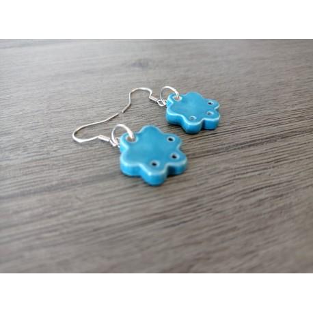 Green blue ceramic earrings