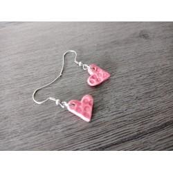 Fancy earrings ceramic pink heart