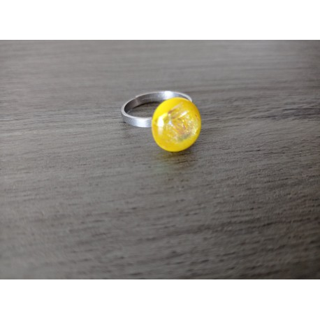 Fancy ring glass dichroic yellow fusing stainless steel