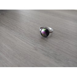 Fancy ring glass dichroic black fusing stainless steel