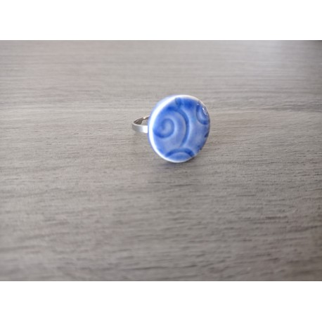 Dark blue ceramic ring creative vendée