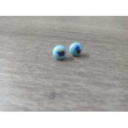 Earrings chip glass fusing blue green purple