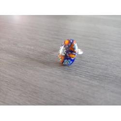 Ring glass fusing blue orange red millefiori