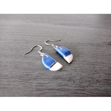 Oval blue ceramic earrings