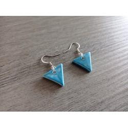 Green triangle earrings