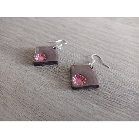 Red and white grey ceramic earrings