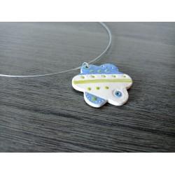 White earthenware flower pendant enamelled ceramic craft made in france