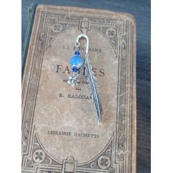 Marque-page bleu tortue céramique et métal argenté