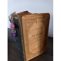 Ceramic purple bookmark, fabrics and silver metal