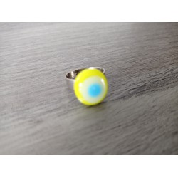 Julie White and Blue Ring Glass Green and Blue Fusing Glass - Co Creations