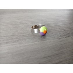 Ring glass fusing purple, orange and green