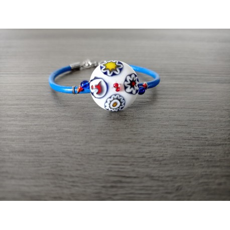 Bracelet blue and white millefiori handmade glass on blue leather and stainless steel made in france vendée