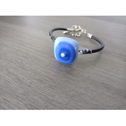 Blue bracelet handmade glass on black leather and stainless steel made in france vendée