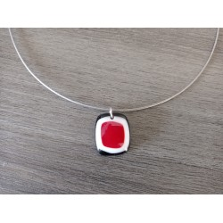 black and red fusing glass necklace