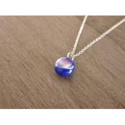 Light blue pendant effects glass fusing dichroic handmade creation vendée