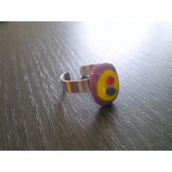 Bague verre fusing violet, jaune, bleu et rouge