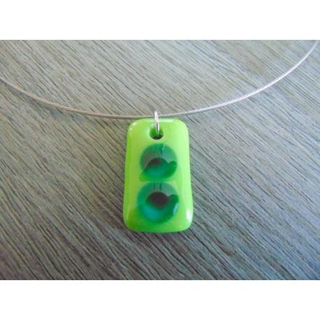 Pendentif en verre fusing création bijoux artisanaux créatrice vendée