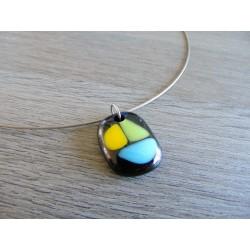 Pendentif en verre fusing bijoux artisanaux fantaisie bijouèterie créatrice vendée